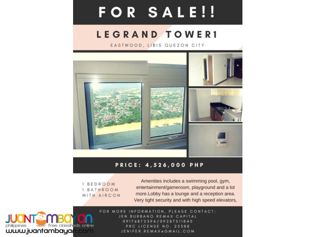 RUSH SALE 36 Sqm 1BR unit in Le Grand Tower1 ,Eastwood, QC