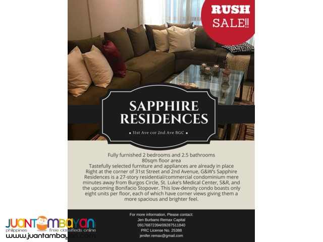 RUSH SALE 2 BR Condo Unit in Sapphire Residences, BGC, Taguig