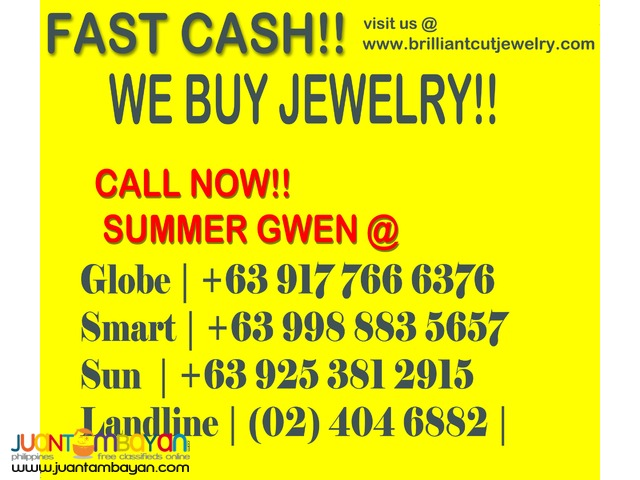 WE BUY ALL KINDS OF GOLD JEWELRY!! FAST CASH TRANSACTION!