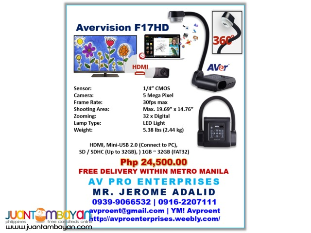 Avervision F50HD Portable Document Camera and Visualizer