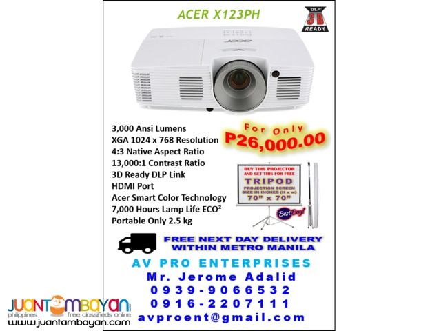 Acer P1185 Portable DLP Projector with Free Portable Tripod Screen