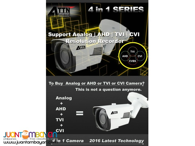 Latest CCTV Camera Technology Analog / AHD / TVI / CVI- 4A-MB10MWMF