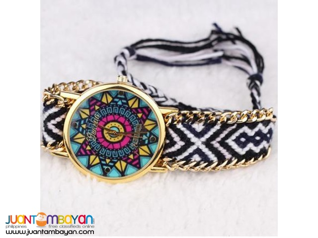 BRAND NEW Braided Friendship Gold-Plated Zinc Alloy Adjustable Watch