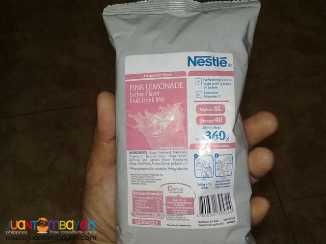 NESTLE PINK LEMONADE FRUIT DRINK MIX (LYCHEE FLAVOR)