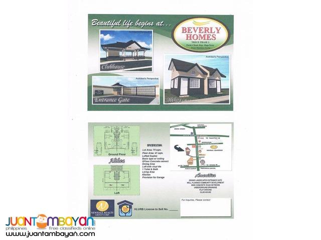 Lofted Duplex For Sale Thru Pagibig in Trece Martires Cavite