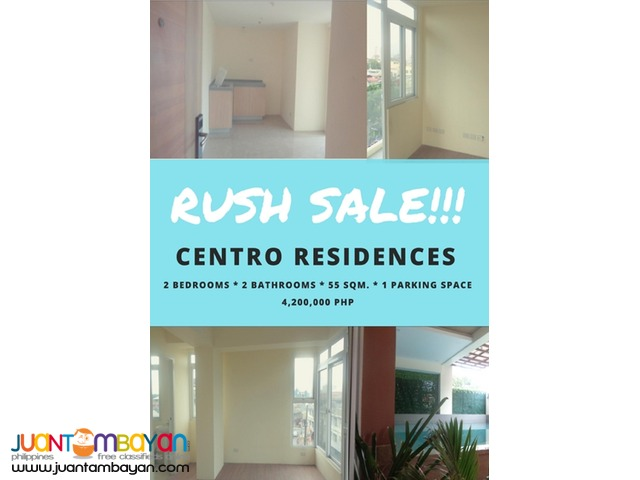 RUSH SALE!!! Premium 2 bedrooms in Centro Residences - Cubao, QC