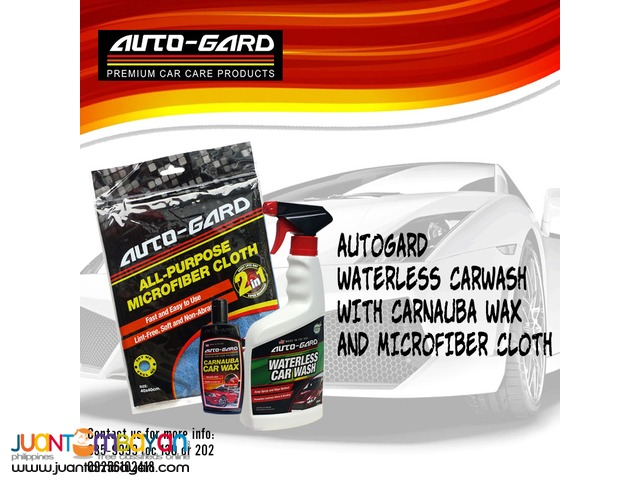 Autogard Waterless Carwash with Carnauba Wax and Microfiber Cloth