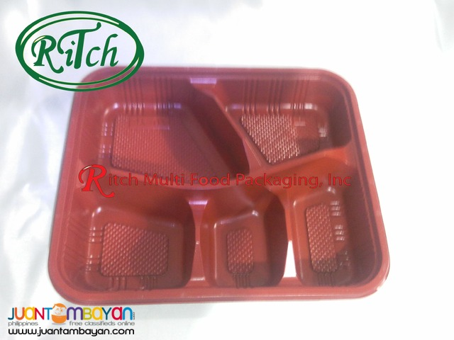 Bento box Microwavable 4 and 5 Division Red/Black