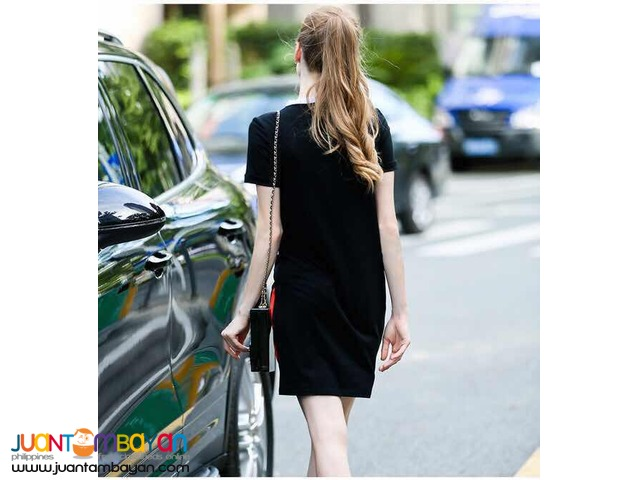 U.S. Style Fabric Combined 3D Chic Girl Print Dress