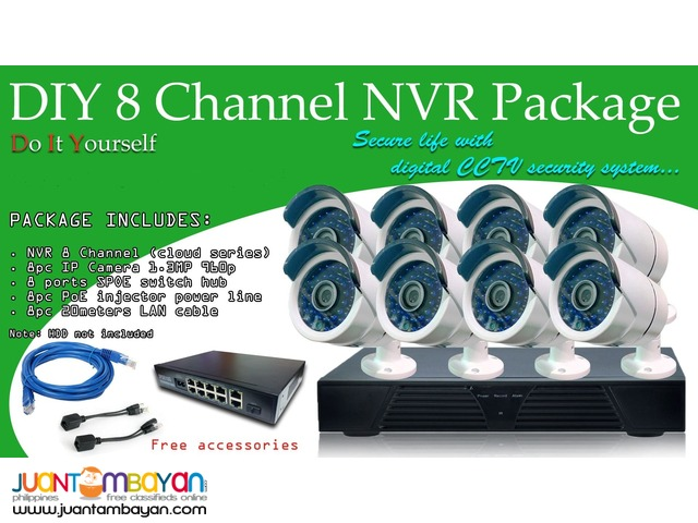 8 channel package NVR with 8 bullet IP (960P)-Scouter Electronics Corp