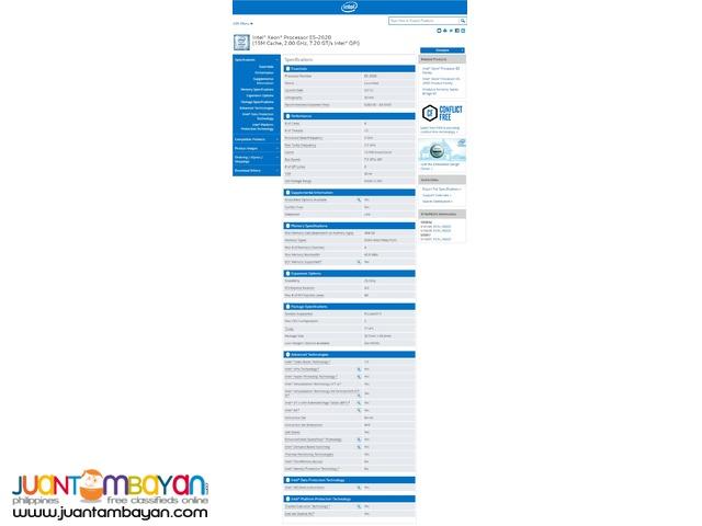 Intel Xeon Processor E5-2620 6 Cores 2.00 GHz