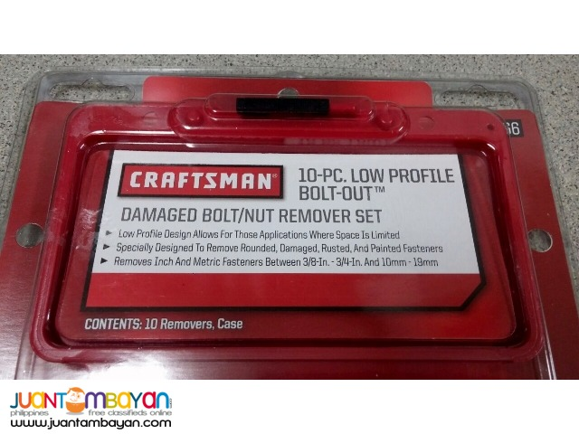 Craftsman 10-piece Damaged BoltNut Remover Set Low Profile Bolt-Out