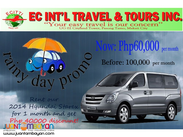 Rent-a-Van this RAINY SEASON with discounted price