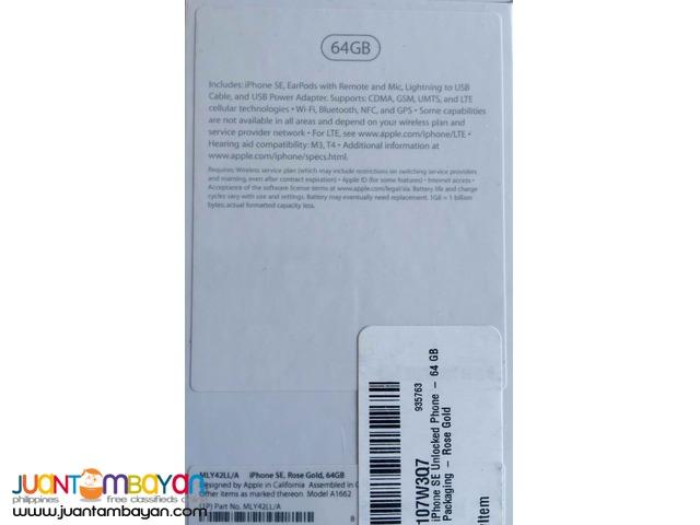 Iphone SE 64 gb Rose Gold  brand new  factory unlocked
