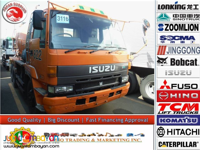 Orange ISUZU 10 Wheeler Single Headlight Transit mixer JP Surplus