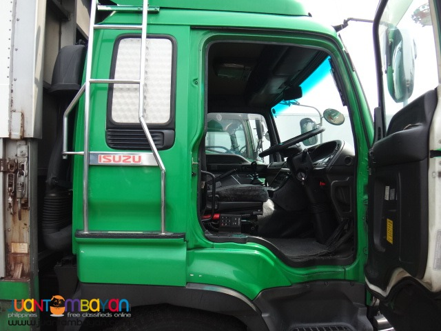 Green ISUZU 10Wheeler Wing Van Giga 6WA1 Engine 2015 Japan Surplus