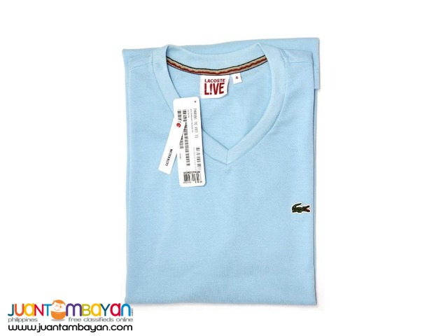 69140afc9410 LACOSTE LIVE V-NECK Men's T-shirt - HONEYCOMB FABRIC | Taytay ...