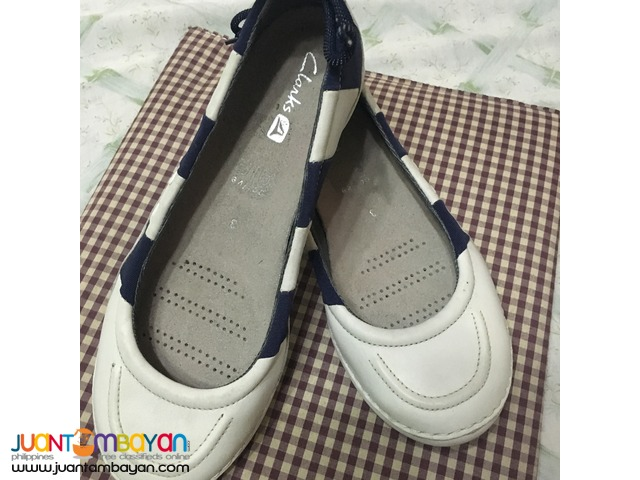 Original Clarks Jyro Pump White/Nay Lea Shoes for Women