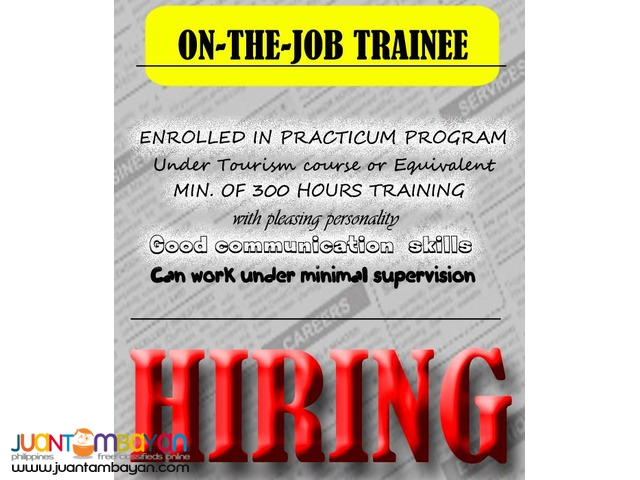 On-the-Job Trainee (Tourism Students)