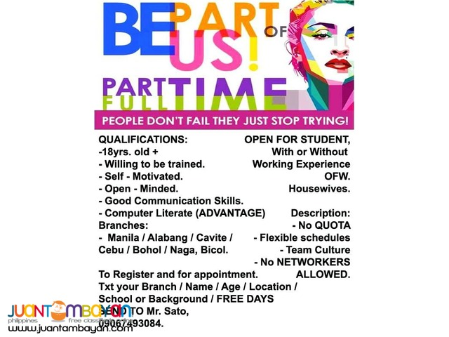 Part time for students working job less fresh grad in Cavite
