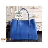 Hermes Garden Party Bag In Blue Leather