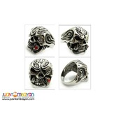 316L Stainless Steel Crystal Ghost Flame Skull Ring