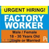 APPLY NOW START TOMORROW@Factory worker, Machine Operator, Driver