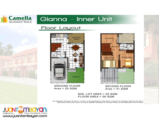 Towhouse For Sale in Quezon City Camella Glenmont Trails