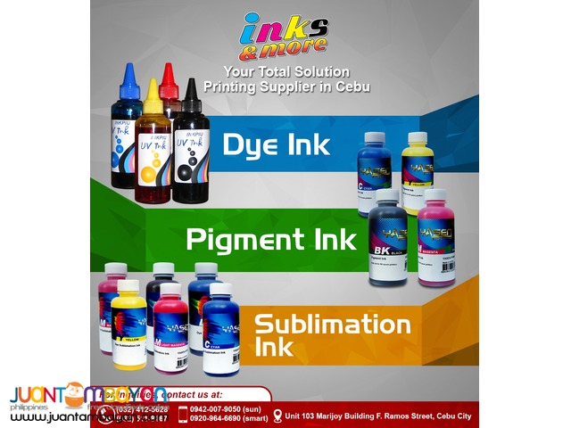 Dye Inks, Sublimation Inks, Pigment Inks Supplier Cebu Philippines
