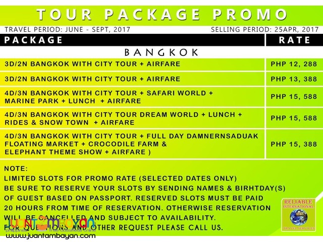 BANGKOK TOUR PACKAGE with AIRFARE