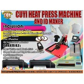 CUYI HEAT PRESS MACHINE AND ID MAKER PACKAGE