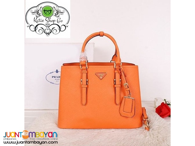4f9112e61846c1 PRADA SAFFIANO TOTE BAG - PRADA BAG WITH SLING - orange | Taytay ...