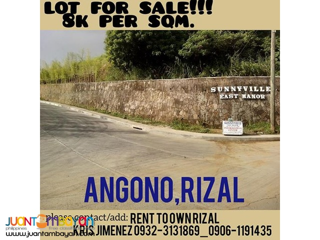 SUNNYVILLE LOT FOR SALE IN ANGONO