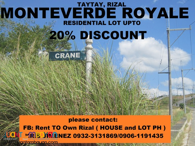 LOT FOR SALE in TAYTAY MONTEVERDE ROYALE