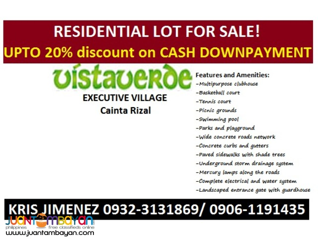 LOT FOR SALE in CAINTA VISTA VERDE EXECUTIVE VILLAGE