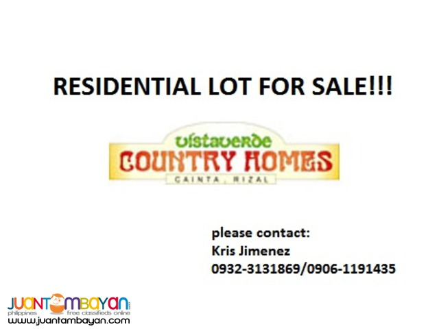 vista verde country homes LOT FOR SALE with 20% DISCOUNT