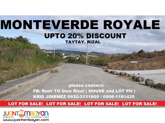 lot for sale in taytay rizal MONTEVERDE ROYALE upto 20% Discount