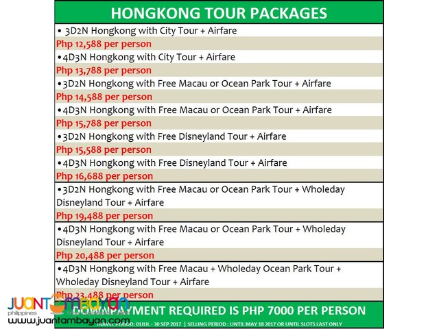 Hongkong tour package + Airfare