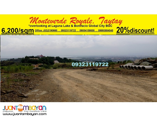 Overlooking Lot for Sale in Monteverde Royale Taytay nr Manila East