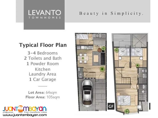 FOR SALE LEVANTO 3BEDROOM 2TOILET&BATH TOWNHOUSE AT TAYTAY RIZAL