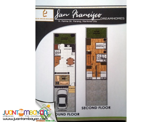 SAN FRANCISCO FLOOD FREE TOWNHOUSE AT MARIKINA WITH CARPARK