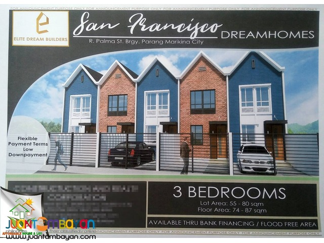 FOR SALE TOWNHOUSE SAN FRANCISCO HOMES IN MARIKINA FLOODFREE