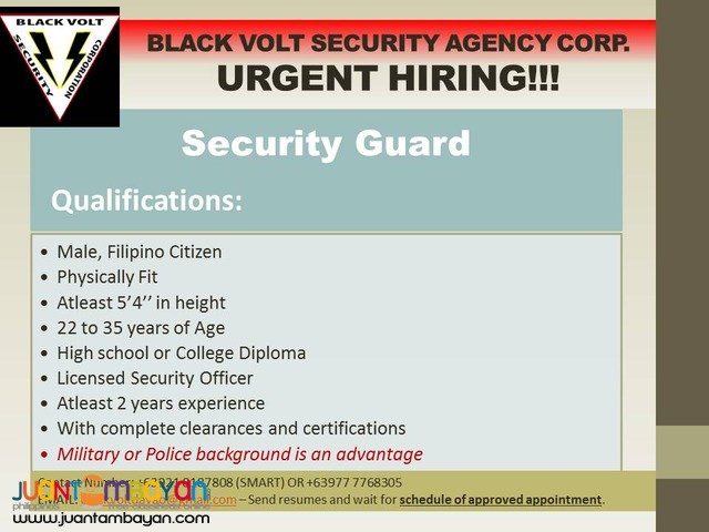 URGENT HIRING! Security Guards for Davao based- newly opened office ...