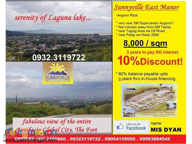 Sunnyville East Manor Lot Sale Angono Taytay overlooking BGC