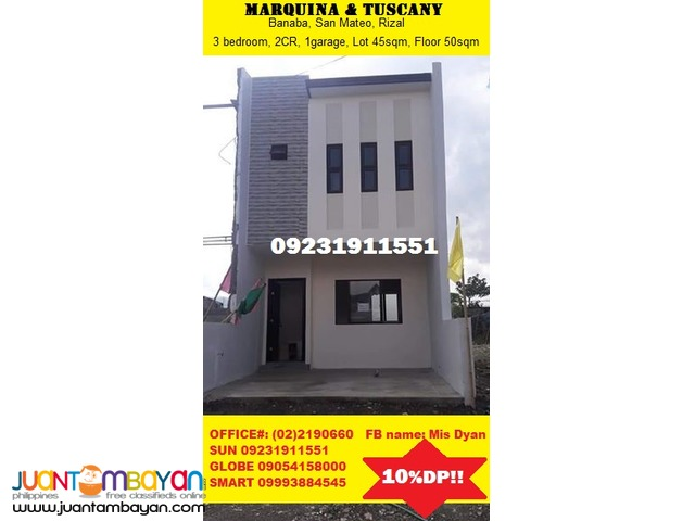 Marquina Tuscany House for Sale near MRT Station 10%DP only