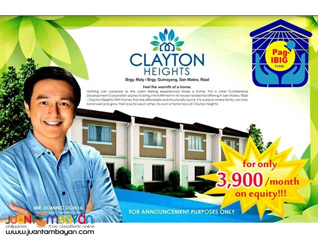 CLAYTON HEIGHTS TOWNHOUSE pre selling thru pag ibig