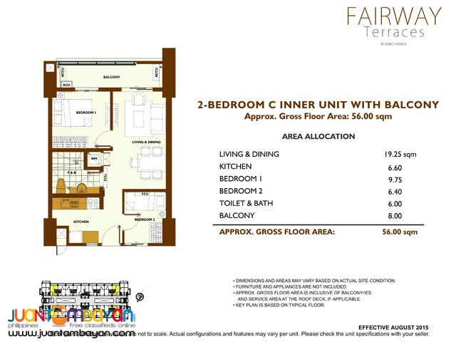Affordable 2 bedroom with balcony, Fairway Terraces by DMCI at Pasay