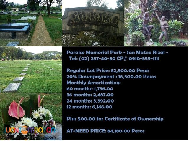 Paraiso Memorial Park Lawn Lot Sanmateo Rizal San