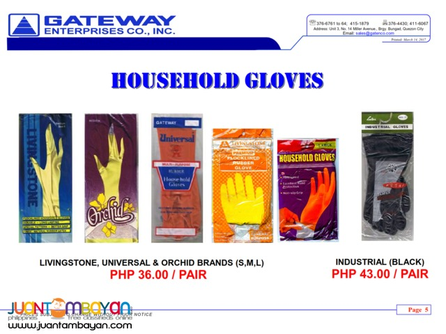 Gloves (Livingstone,Universal and Orchid Brand) and Industrial Gloves