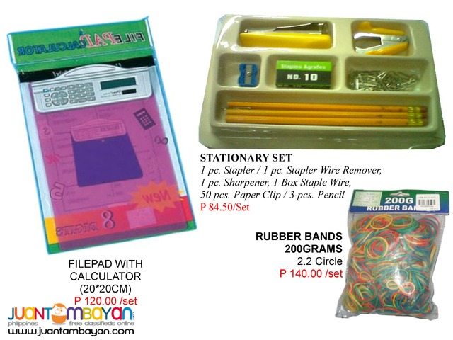 Filepad Stationary set Lunch box Rubber bands Stapler